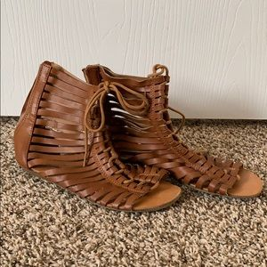 Tan gladiator ankle sandals